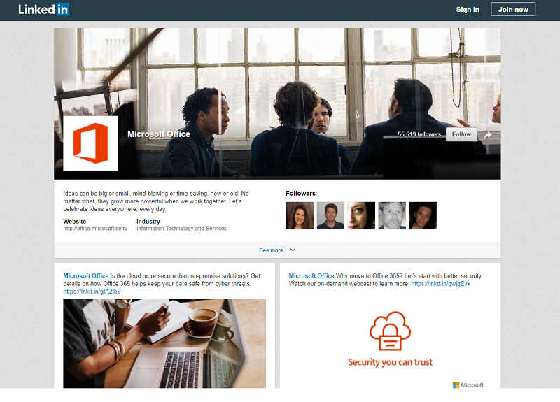 LinkedIn Mircosoft Office Showcase Page