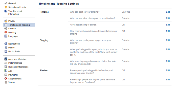 Facebook Timeline and Tagging Settings