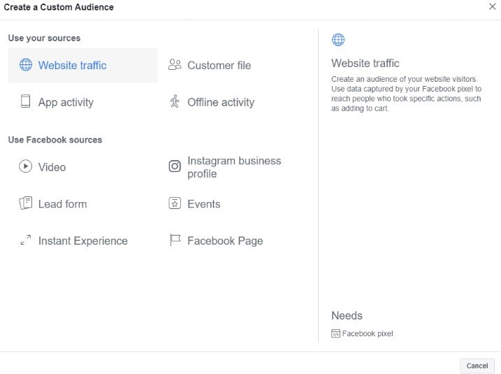 Facebook Custom Audience Website Traffic